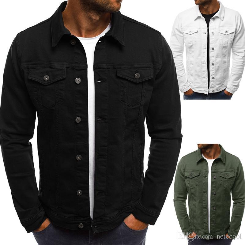 Мужчины джинсовой куртки оптом вскользь джинсы куртки Slim Fit Streetwear однобортный Vintage мужские Жан Одежда Плюс Размер M-3XL