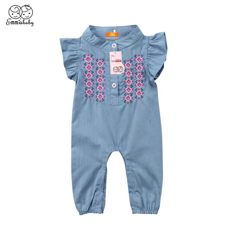 Baby Girl Denim Romper 2018 La más nueva moda infantil recién nacido niñas manga corta mono traje de sol trajes de verano Bebes ropa de bebé