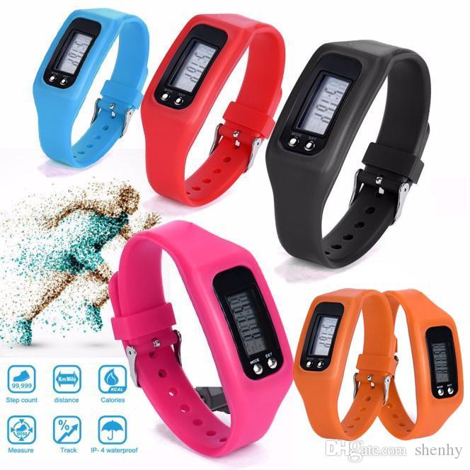 Calorie Colorful Pedometer Smart Watch Watch LED Pedometers Step Distance Run Digital Counter Multi Silicone Bracelet Electronic Walkin Jcph