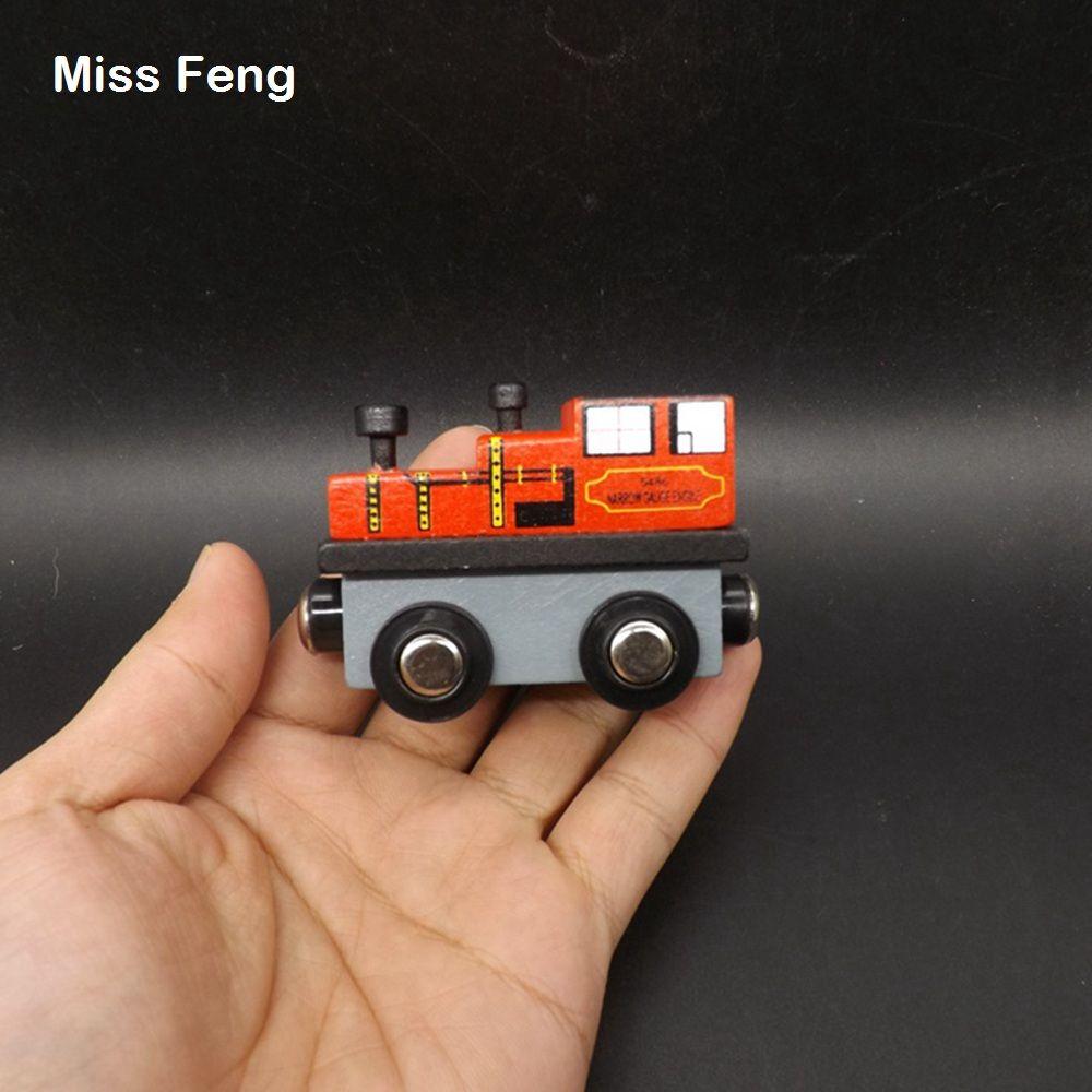 Color rojo de madera locomotora vehículos modelo de tren de juguete con rueda giratoria de aprendizaje temprano juguete educativo juego de regalo de madera