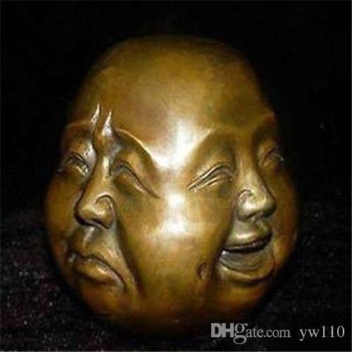 Détails sur Rare statue de tête de bouddha en laiton tibet chinois 4 faces