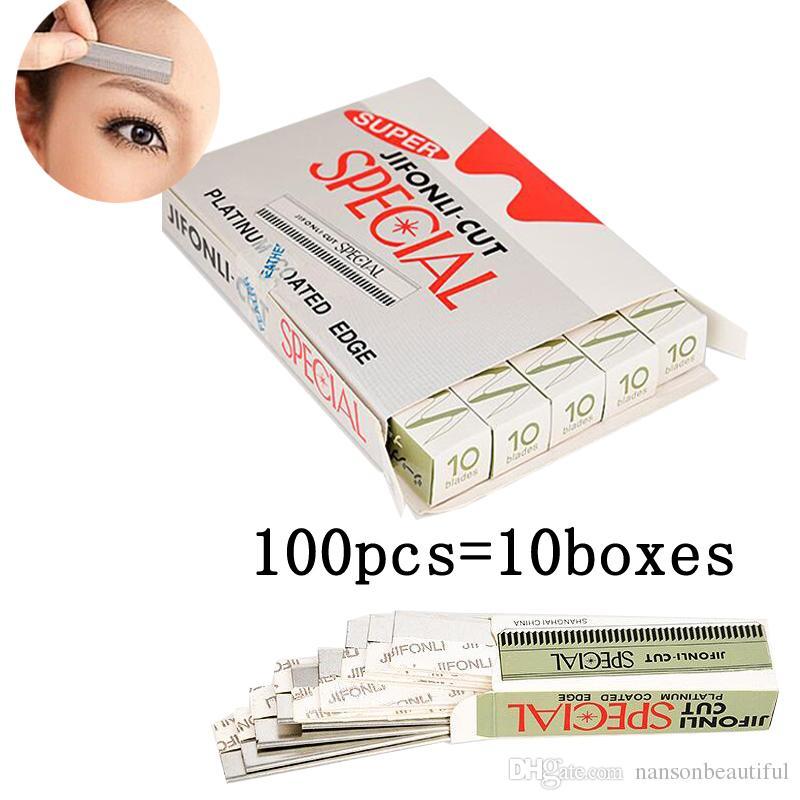 100 adet Kaş Jilet Paslanmaz Çelik Microblading Kaş Düzeltici Kaş Tıraş Düzelticiler Makyaj Araçları