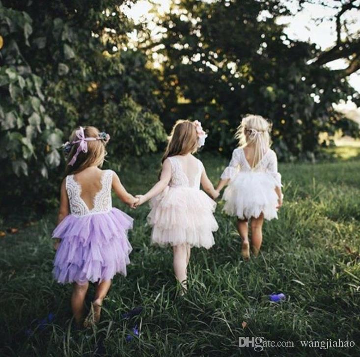 2018 Vieeolove Baby Girls Lace Tutu 2018 Nueva Primavera Verano Vestidos Sin mangas para niños Ropa de flores Floral Chaleco Arco Vestido