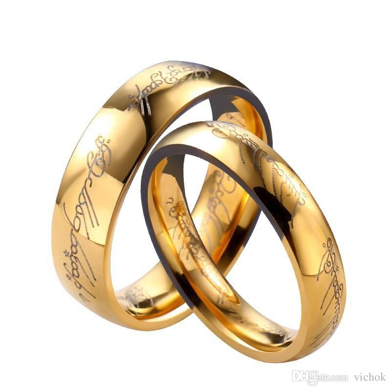 Коктейль Позолоченные из нержавеющей стали кольцо кольцо Свадебная Обручальное Муж Отец Подарки Любители Пара Кольца Ювелирное VICHOK