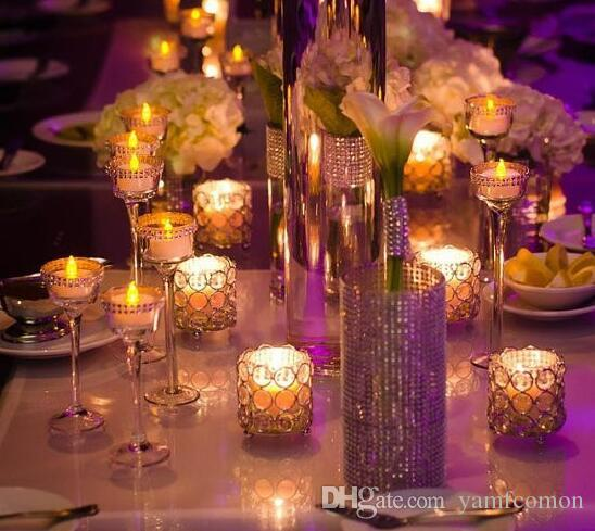 H7cm * W7cm, Free Ship, Glass Crystal Candle Holder, Wedding Centrerpecess Home Decoration