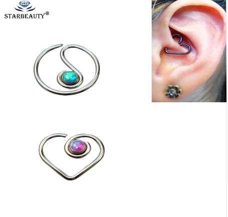 G23 16G Titanyum Opal Kıkırdak Piercing Langue Saplama Piercing Kulak Kıkırdak Kulak Damızlık Ombligo Küpe Kulak Piercing Vücut Takı