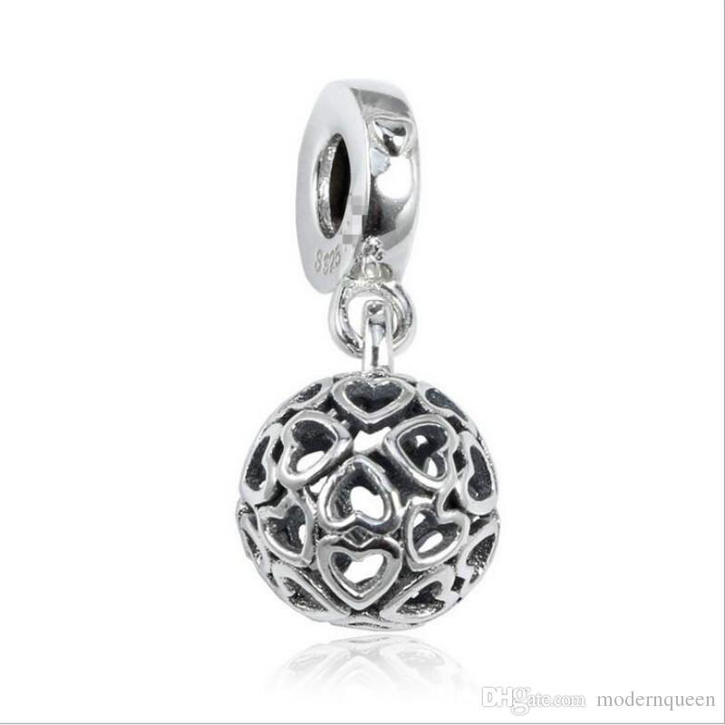 5 pz / lotto armoniosi cuori ciondoli amuleti in argento sterling 925 adatto braccialetti stile pandora 797255 h9