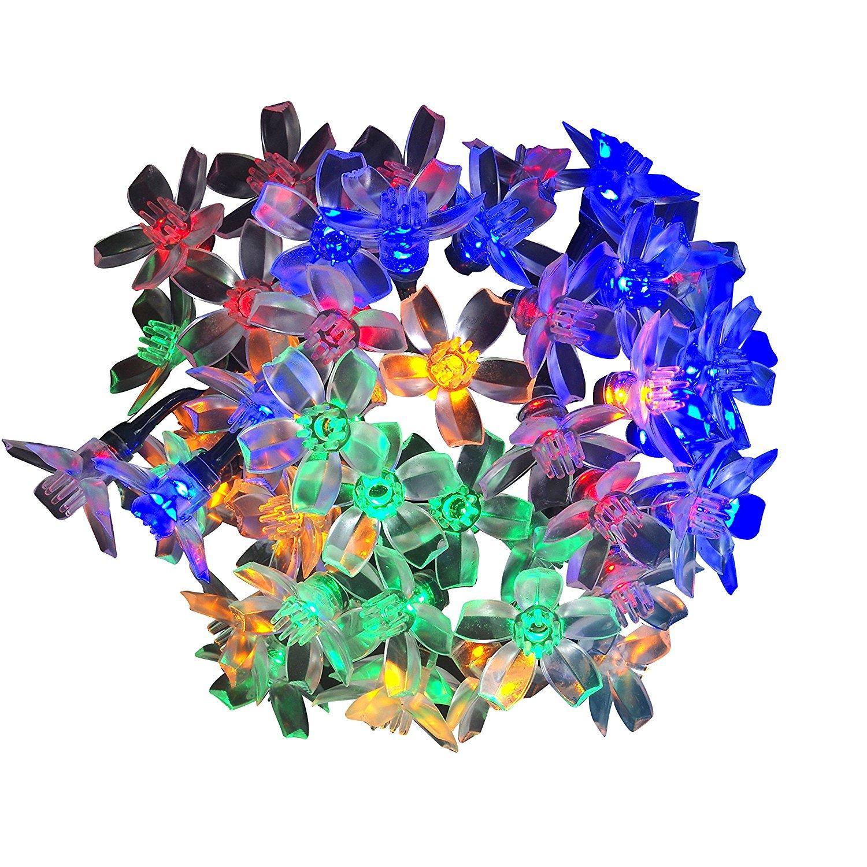 Güneş Enerjisi Peri Dize Işıklar Çiçeği Şeftali Çiçek Su Geçirmez Açık Çim Patio Noel Ağaçları Düğün Parti Işıklar Toptan Dropship