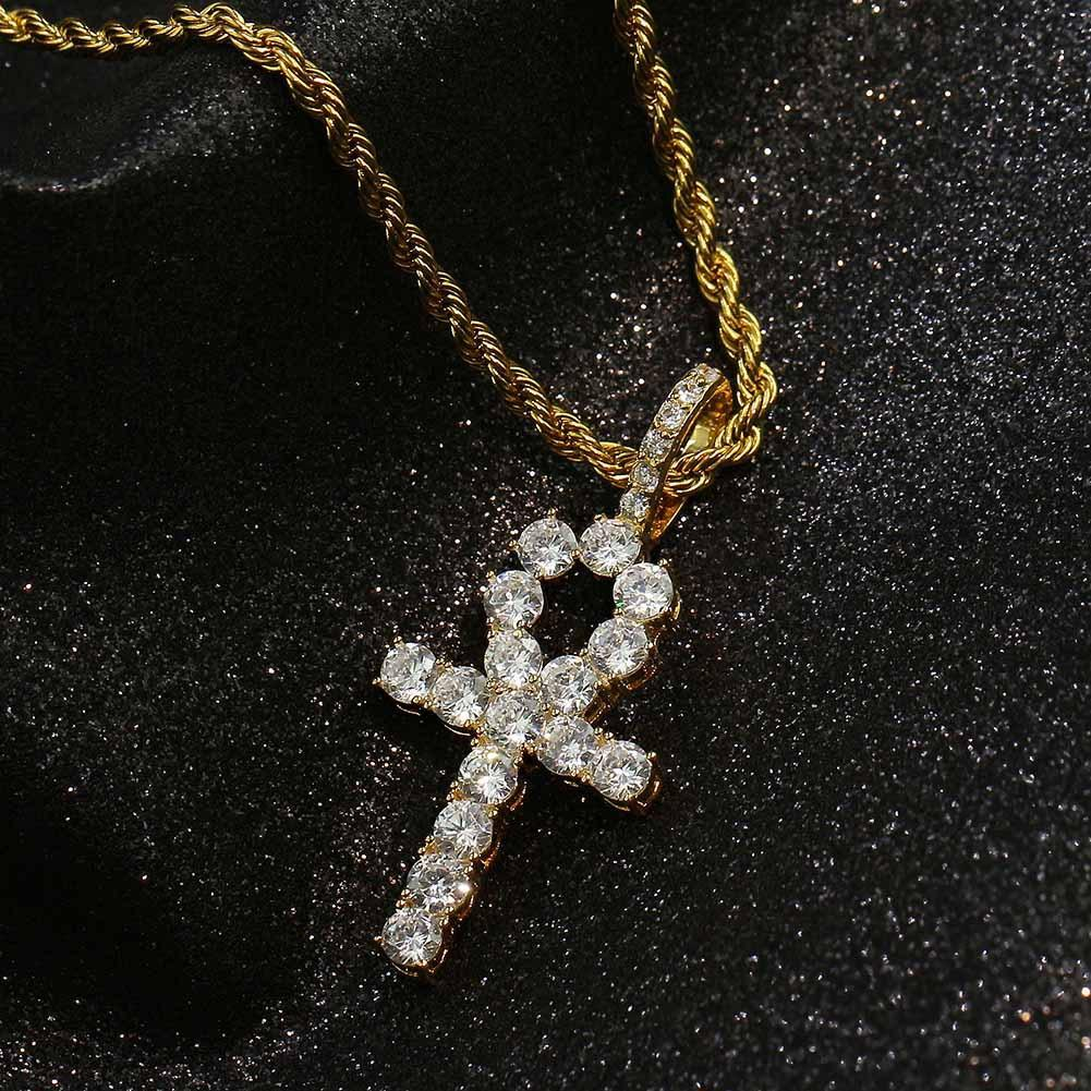 Hip Hop Jewelry Micro Inlaid Zircon Hip Hop Necklace Key Cross Hiphop Pendant Chain Statement Necklaces