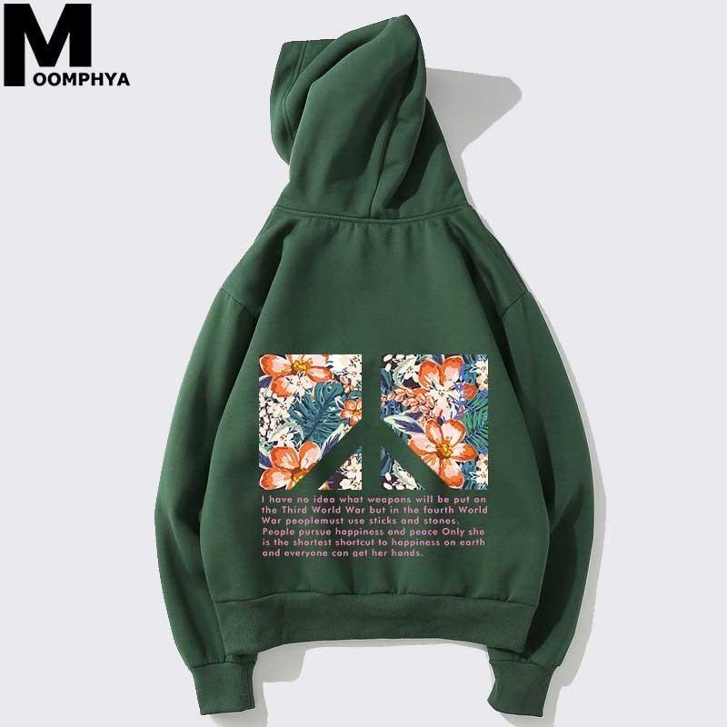 Streetwear Printed floral mens hoodies Letter Anti-war peace printing hooded sweatshirts men Harajuku pullover hoodies men