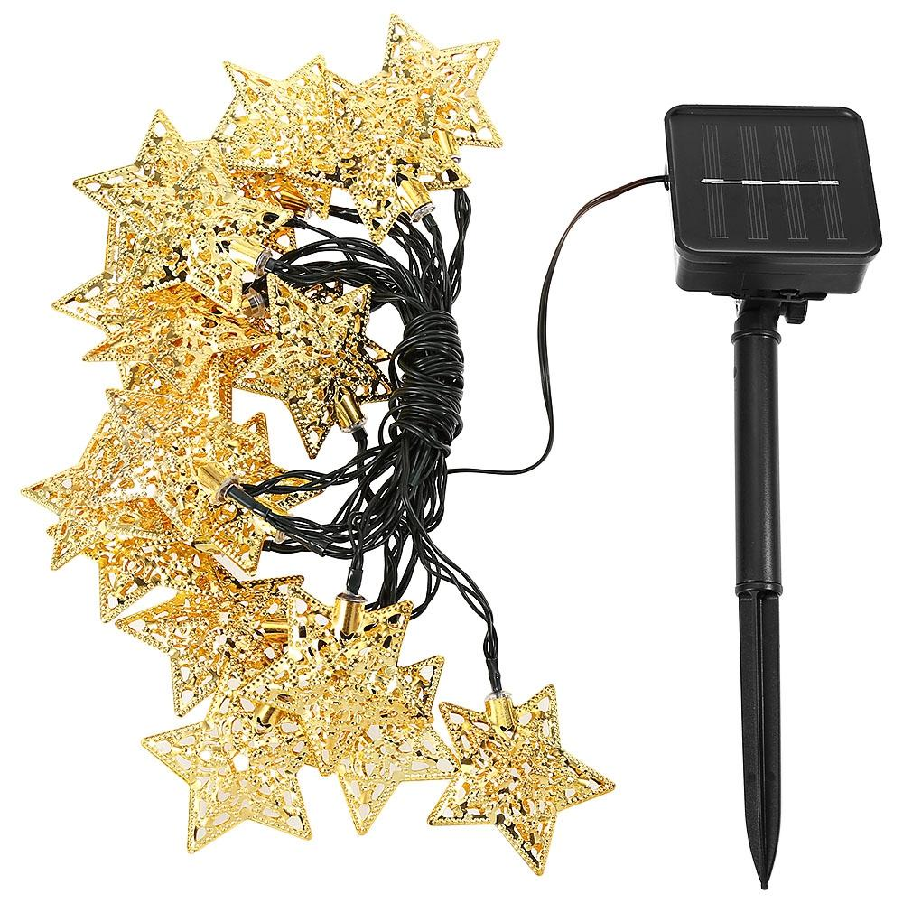 Solar Powered Waterproof 20 LEDs Iron Star String Lamp Home Yard Christmas Decoration PIR Sensor Outdoor Lighting Strings Free Shipping
