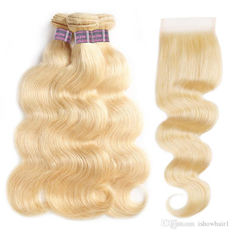 Ishow 613 cor loira pacotes de cabelo humano com fecho de renda brasileiro onda corporal virgem extensões de cabelo trama tece 3 pcs para mulheres todas as idades 10-30inch