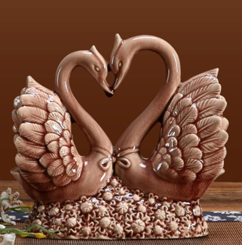 céramique Swans amateurs home decor artisanat chambre décoration artisanat porcelaine figurines d'animaux décorations de mariage cadeaux créatifs