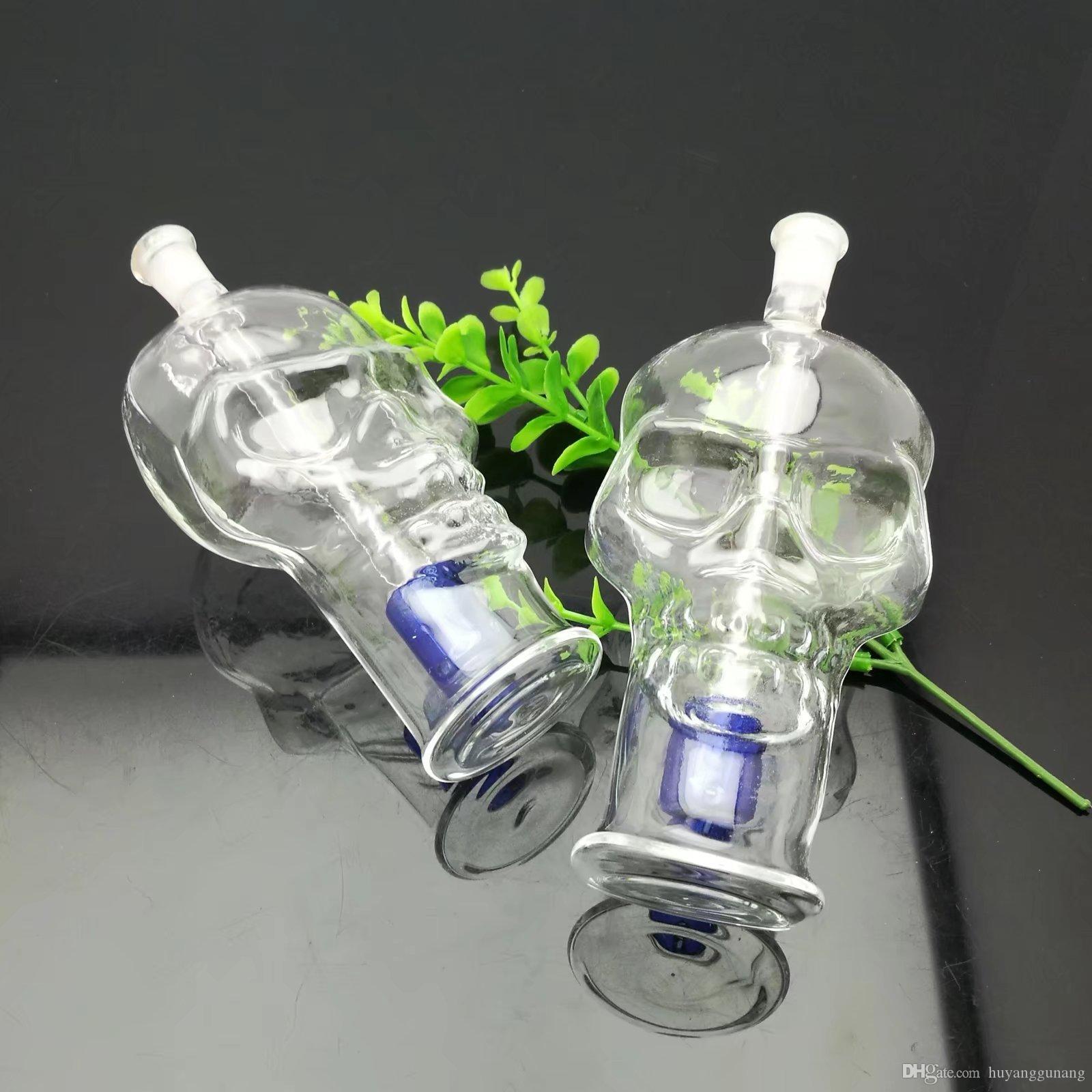 Transparent bouteille d'eau en verre d'os de crâne bong verre en gros brûleurs à mazout en verre Tubes d'eau huile fumante gratuit Rigs