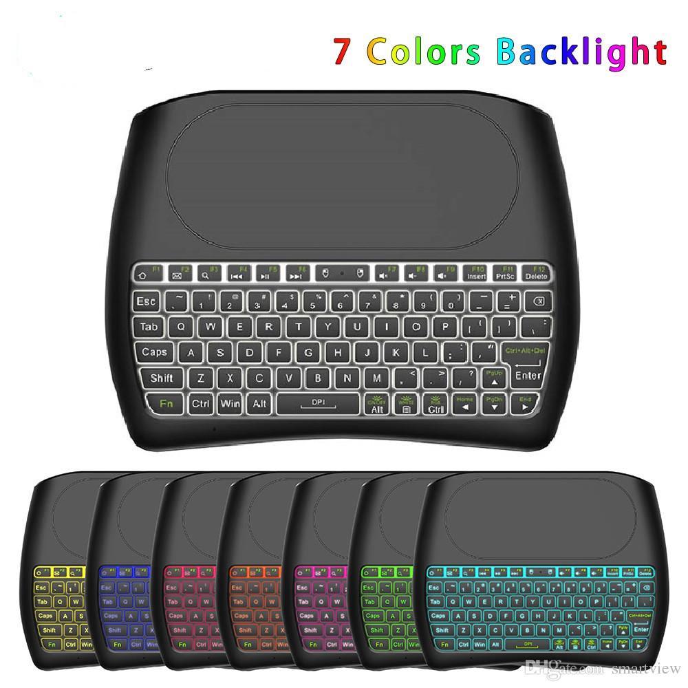 20 stücke neue d8 pro plus hintergrundbeleuchtung i8 englisch 2,4 ghz wireless mini tastatur air maus touchpad controller für android tv box mini pc