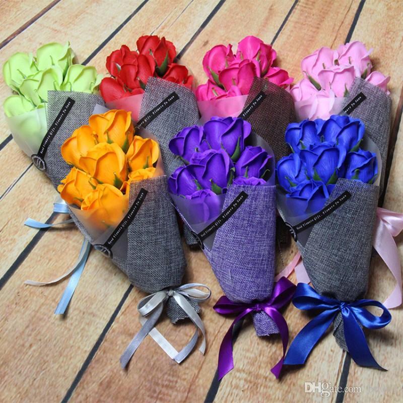 Simulación Rose jabones flor para la Navidad día de San Valentín regalos ramo 7 cabezas jabones artificiales flores venta caliente 16zr BB