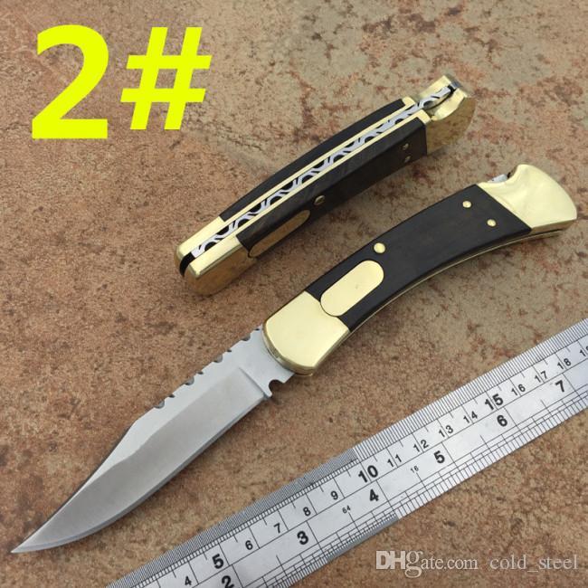 High-end 110 coltello tattico singolo azione posteriore in ottone seghettato + manuale in legno cacciare coltello da tasca Xmas regalo coltelli per uomo
