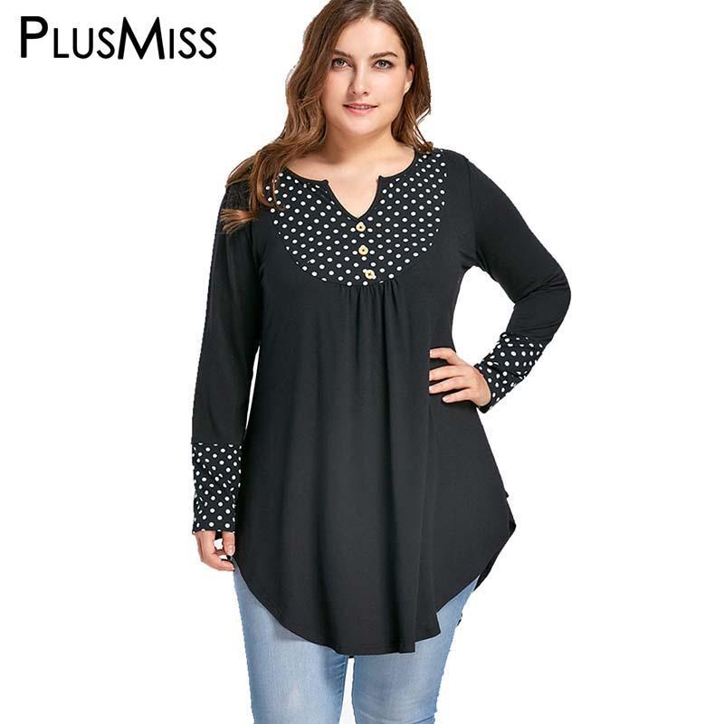 Artı Boyutu 5XL Vintage Puantiyeli Patchwork Tunik Asimetrik Üst Sonbahar 2017 Uzun Kollu Gevşek Bluz Gömlek Kadın Giyim