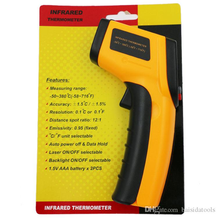 GM320 Infrared Thermometer Digital Display Handheld High Precision Industrial Infrared Thermometer Kitchen Electronic Thermometer Free Shipp