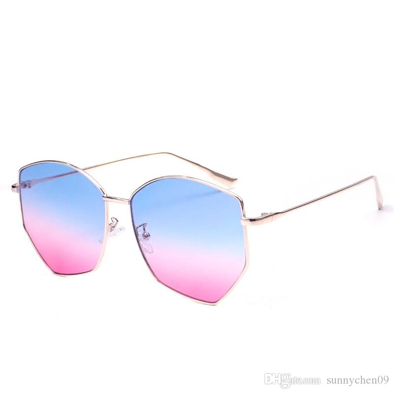 Nueva Llegada Diseñador de la Marca Popular Gafas de sol para Hombres y Mujeres Irregularidad en forma de hoja de océano gafas de sol gafas de protección uv 400 lente