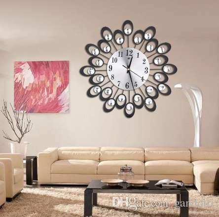 GOHAND New Modern Metal Digital Large Wall Clock Diamond Rhinestone Iron Art Silent Decor DIY Living Room relogio de parede