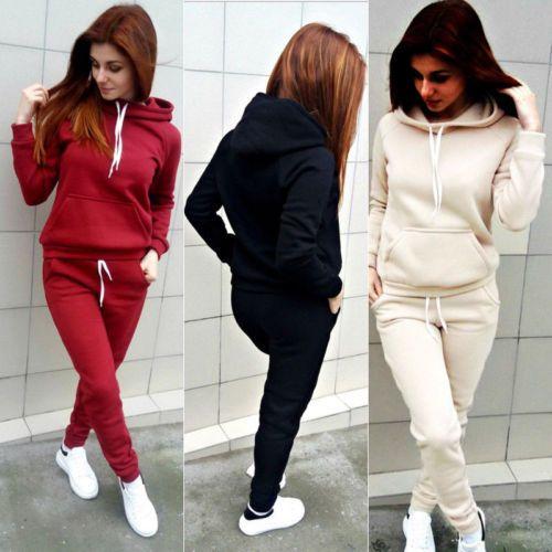 2018 Yeni Varış FallWinter Rahat Hoodie 2 adet Bayan Eşofman Ceket + Pantolon Takım Elbise Egzersiz Kazak Şarap Kırmızı 3 Renkler Sıcak