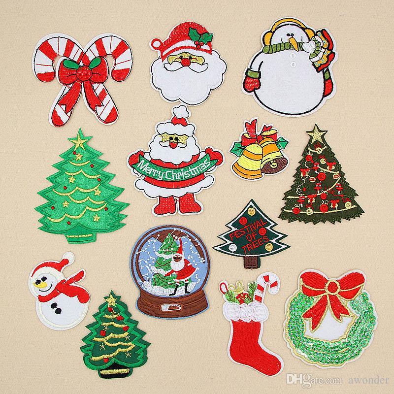 Merry Christmas Mend Nakış Yamalar Noel Baba Kardan Adam Noel Ağacı Çan Dikmek Demir On Aplike Yama Rozeti DIY Giyim Rozetleri Için Giysi