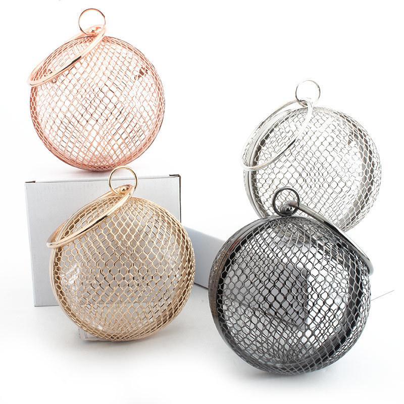 Borsa da sera delle donne vintage catena di metallo scava fuori borsa mini banchetto partito borse tracolla frizione borsa circolare gabbia borsa Y18103003