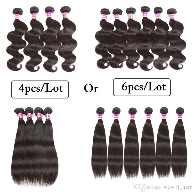 100% Unprocessed Malaysian Human Hair Extension Straight Body Wave Natural Black 4pcs Lots OR 6pcs Lots Brazilian peruvian Hair Weave