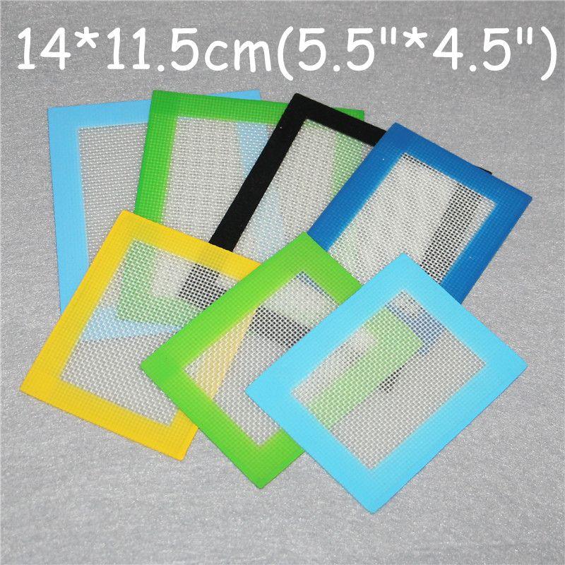 Tappetini in silicone Tappetini antiaderenti in silicone Tappetini in silicone secco per erba 14 * 11.5cm Materassino per alimenti in plastica Dabber Lenzuola Vaschette Tampone verde blu giallo