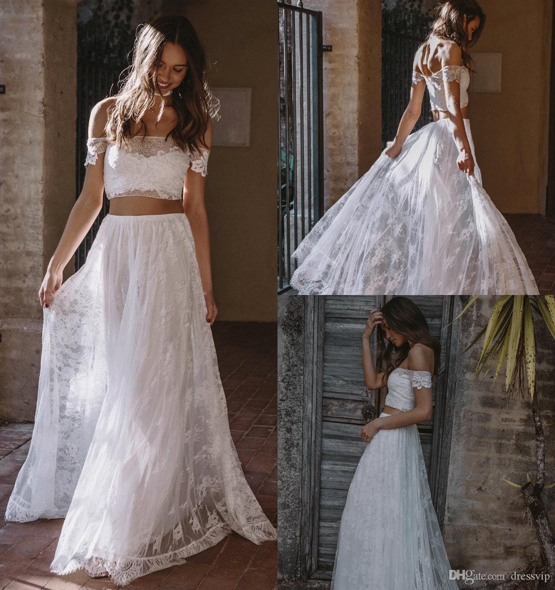 2019 vestidos de novia bohemia Una línea Dos pedazos del hombro apliques de encaje Boho Boho Boho Beep Tren Tallas grandes Vestido de novia