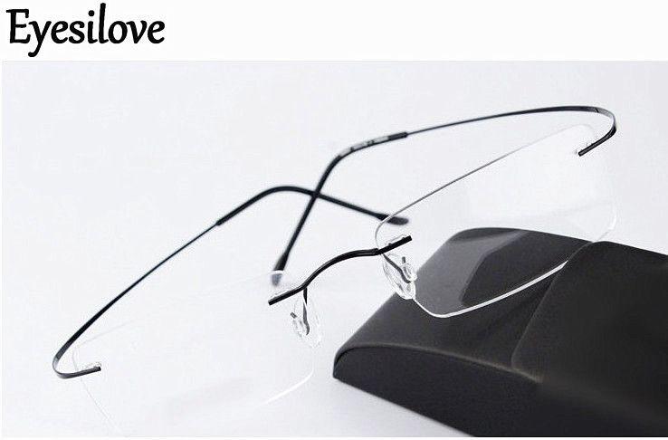 Ultra-light Brand new rimless optical glasses frames men women titanium rimless eyeglasses frame eyewear frame black silver gold grey brown