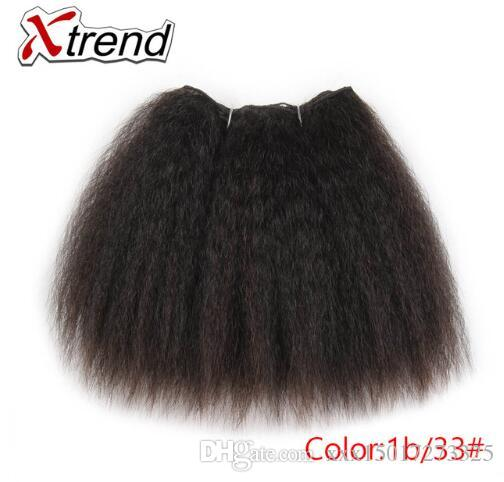 Kinky Straight Hair Bundles For African Black Women 8inch 14inch Short Synthetic Hair Weave Kanekalon Hairs Wefts 1-4 pcs