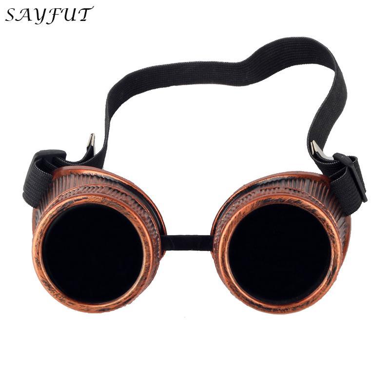 SAYFUT Red Frame Retro Vintage Steampunk Goggle Glasses Welding Punk Gothic Cosplay Eyewear