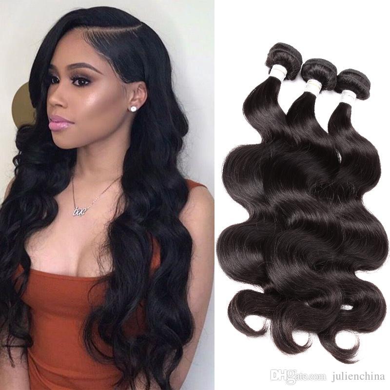 Bella Hair® 9a 10 ~ 24in brasilianska jungfruliga hårväftförlängningar kroppsvåg Vågig naturlig svart färg 3st / lot ulienchina