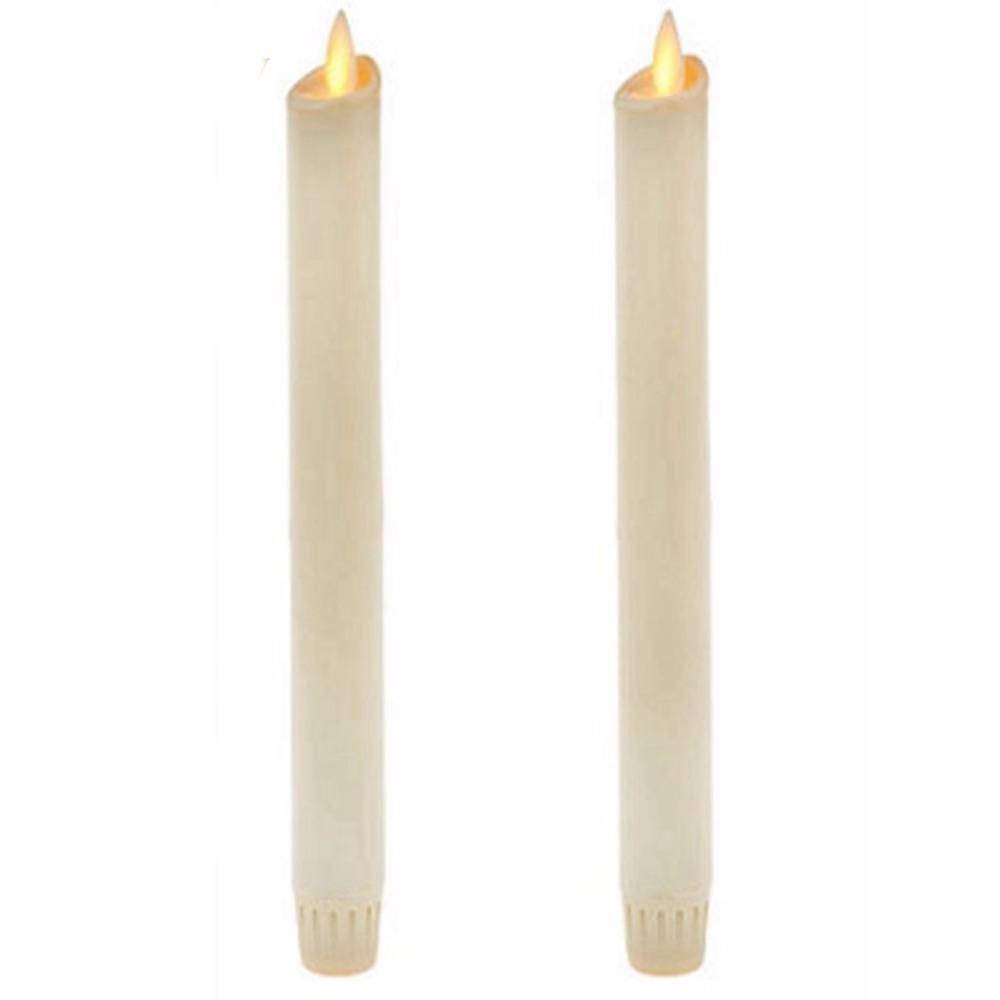 """wholesale 8"""" Set of 2 Ivory Unscented Wax Flameless Taper Candles, Battery Operated,Moving Wick,LED Candle with Timer and Remote"""