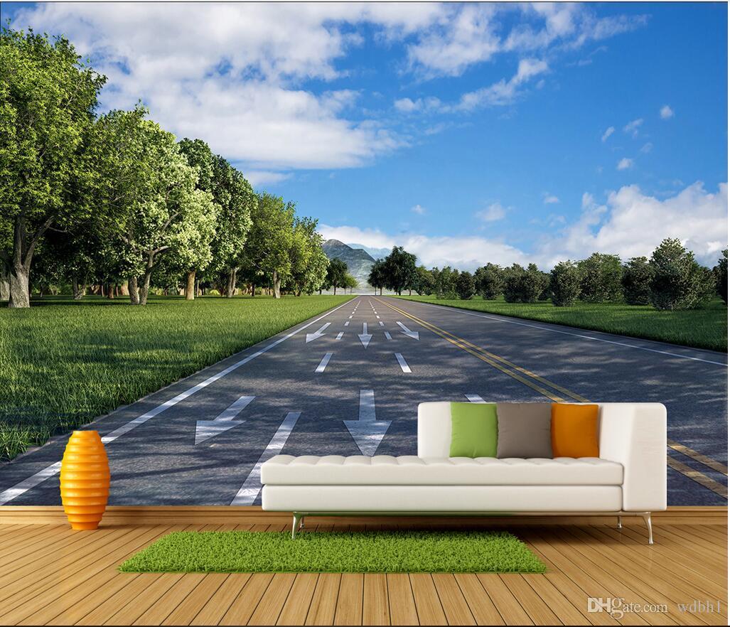 3D 벽지 사용자 정의 사진 벽화 HD 도로 고속도로 파란 하늘 배경 벽화 벽화 벽화 3 d
