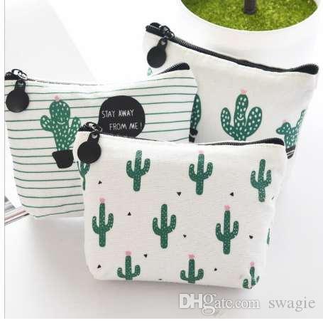 Borsellino portamonete a forma di piccola tasca con cerniera per cactus