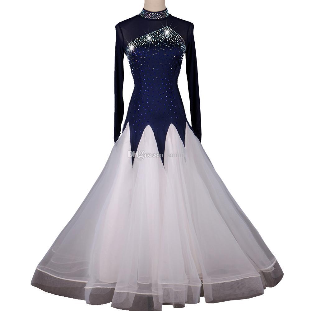Ballroom Waltz Dresses Dancing Outfits Ballroom Competition Dress Tango Dance Costumes D0986 Navy Blue with Rhinestones Big Sheer Hem