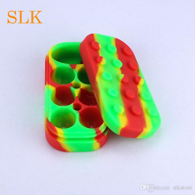 Silck масло силиконовые контейнеры кремния банку 6+1 антипригарным мазок воск контейнер с крышкой заначки коробка lego стиль
