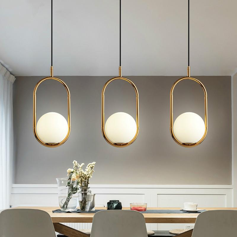 Nordic pendant lamp Minimalism Glass Globe Led Pendant Light Dining Room Plate Metal Hanging Lamp Suspend lighting luminiare