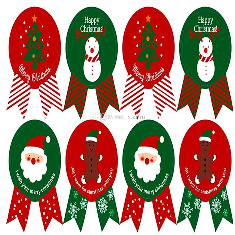 Noel Sızdırmazlık Çıkartmalar Merry Christmas Hediye Kraft Sticker Çerez Kek Etiketleri Çıkartmalar Mutfak Tatlılar Parti Mühür Sticker WX9-976