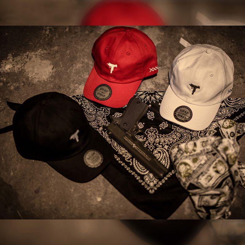 SNAP STRAP UZI Gun Bordado Pai Chapéus Estilo Hiphop BaseBall Caps Para Mulheres Dos Homens Em Preto Branco Vermelho Rosa Verde Ajustável Strapback