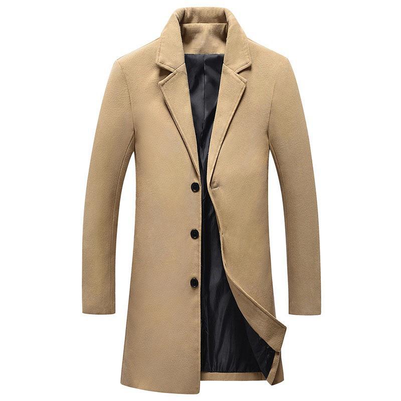 Jesień męska wełniana wełniana płaszcz długie rękawy męskie biznesowe ubrania dorywczo plus rozmiar kurtki Długi okop płaszcz wierzchniej D67