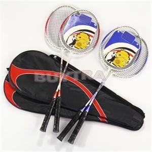 1Pair Universal Light Weight Aluminium Alloy Battledore High-strength Badminton Racket Racquet With Carry Bag