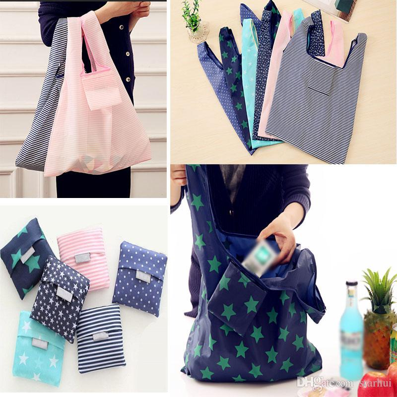 New Nylon Foldable Shopping Bags Reusable Grocery Storage Bag Eco Friendly Shopping Bags Tote Bags WX9-661