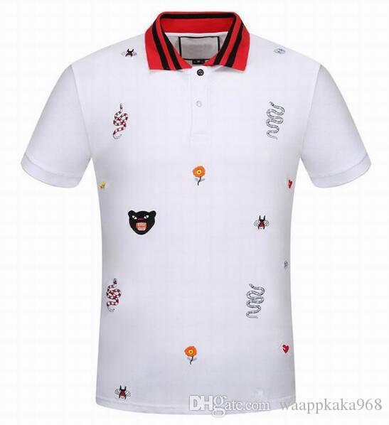 Марка Дизайнер Би Змея Цветок Корона Леопарда Печатных Мужские Рубашки Поло С Коротким Рукавом Бизнес Мода Повседневная Поло Мужской рубашки поло Белый 3XL