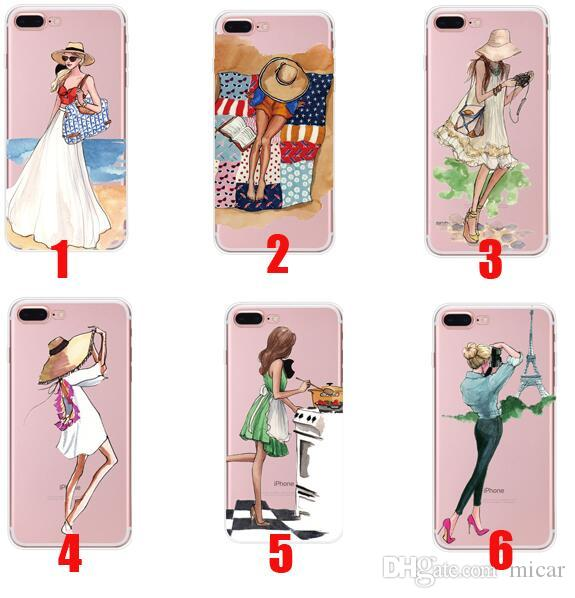 Fashionable Beautiful Girl Design Transparent Cases For iPhone 6 6s iphone 7 iphone X Transparent Clear Soft TPU Phone Cover