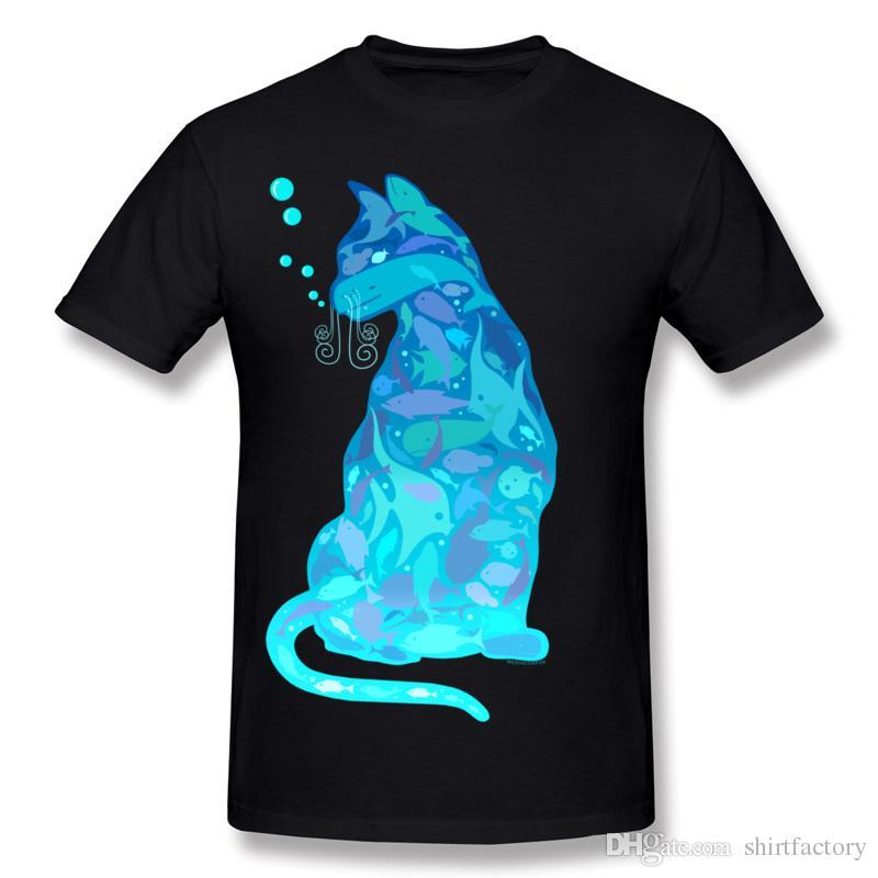 높은 품질 망 코 튼 원단 고양이 Tee Shirt Mens Crew Neck 짧은 소매 티셔츠 수영 큰 크기 3D 인쇄 티셔츠
