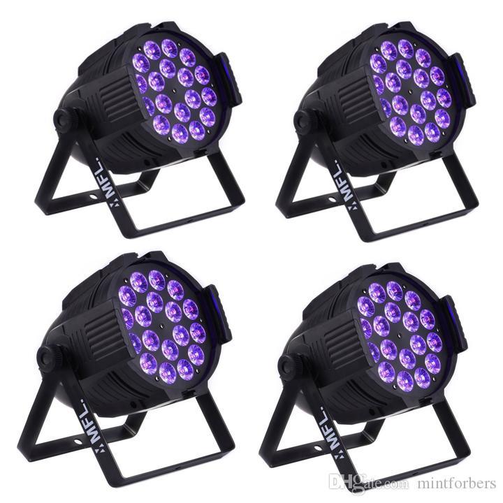MFL Actualiza 18pcs * 18w (6en1) RGBWA + UV 6 / 10CH LED Par Can DJ Barra de iluminación de la etapa luz de la igualdad para el concierto Churth partido (4-Pack)